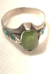 Sterling Silver Rings Antique Jade Natural Stone Handmade For Men And Women