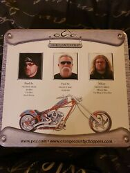 Sealed Orange County Choppers Motorcycles Set Of 3 Pez Dispensers In Metal Tin