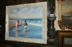Children Playing Older Americana Signed P. Smith Oil Painting