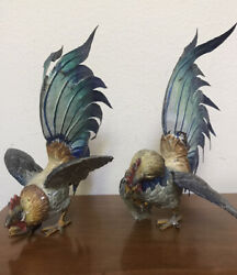 Antique Cast Metal Fighting Rooster Figurines Hand Painted Pair