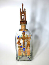 1859 Folk Art Crucifixion Scene With Symbols In Bottle, Whimsy, Whimsey