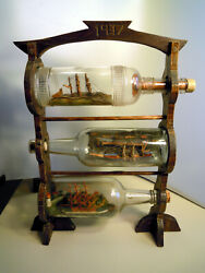 Amazing 3 Generations And 3 Ships In A Bottle Diorama Display Folk Art Whimsy