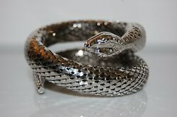 Elegant Whiting And Davis Couture Silver Toned Mesh Coil Snake Statement Bracelet