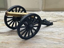Vintage Collectible Toy Brass Cannon Mf Co 1/30 4 Cast Iron Wheels Brass Barrel