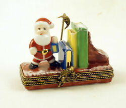New French Limoges Trinket Box Shelf With Santa Claus And Christmas Story Books