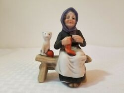 Vintage Lefton Old Woman Sitting On A Bench With Cat Hand Painted Figurine