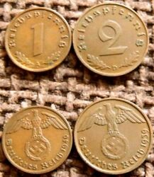 Must Sell 1000 Superb Hi Grade Nazi Bronze Coins W Swastikas Lots Of 2 Diff