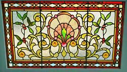 Great Victorian Jeweled Stained Glass Window 26 X 42