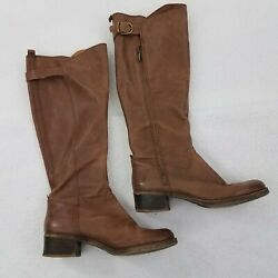 Lucky Brand Boots Womens 9 M Hillow Tall Riding Brown Leather Zip Buckle
