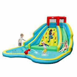 Bountech Inflatable Water Slide Double Side Park W/ Large Climbing Wall Splash
