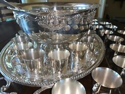 """48 Pcs Beautiful Vintage """"harvest"""" Wallace Silver Plate Punch Bowl Set And 45 Cups"""