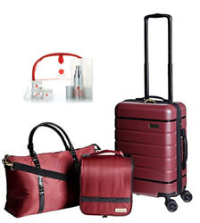 Samantha Brown 3-pc Hardside Spinner, Satchel, Cosmetic Case And Toiletry Kit Burg