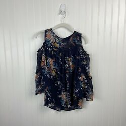 Lucky Brand Top Small Women Cold Shoulder Flare Bell Sleeves Floral Boho Peasant $14.99