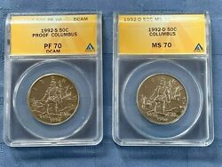 1992-s And 1992 D Columbus Anacs Pr 70 Dcam And Ms 70 Half Dollars, Two Coins