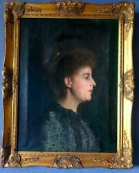 Large Antique Oil Painting On Canvas A Charismatic Victorian Lady Framed