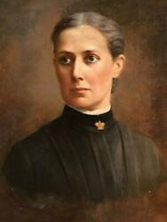 Antique Oil Painting Portrait On Canvas Irish Victorian Lady Dated 1896