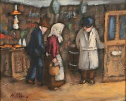 Antique Female Oil On Canvas Signed Swedish Painting Village Shop Interior