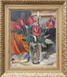 Swedish Painting On Canvas Still Life With Roses And Candle By Anders Olson