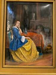Signed Rear Antique French Limoges Enamel On Copper Painting Lady 19th