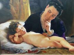 Vintage 1970 Original Oil On Canvas Painting, Sjeto - Mother With Child-signed