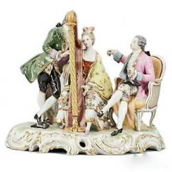 Rear Antique French Porcelain Sculpture Beautiful Musical Group