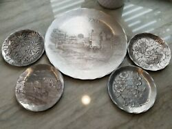 Lot Of Wendell August Handmade Hammered Aluminum 4 Coasters And 9 Plate Vintage