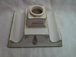 Rare Matching 2-part Schweppes Advertising Inkwell And Pen Rest Stand C1890-1920