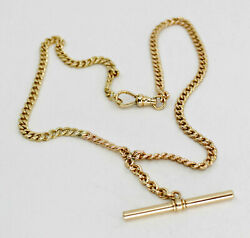 Antique Solid 14k Yellow Gold Watch Chain T Bar Necklace