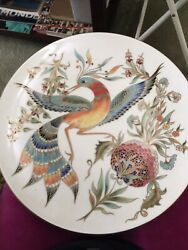 Zsolnay Vintage Decorative Porcelain Wall Plate With Bird Flower Gold Border