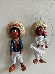 2 Vintage Mexican Marionette Puppets String Dolls Red Cheeks