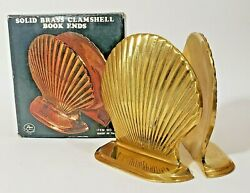 Vtg Price Products Brass Nautical Seashell Clam Shell Bookends New In Box Nos