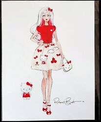 2017 Barbie Hello Kitty Doll Sketch By Robert Best Gwp Limited Edition Gcc50