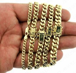 10k Solid Yellow Gold Menand039s 5mm-10mm Miami Cuban Link Chain Bracelet Necklace