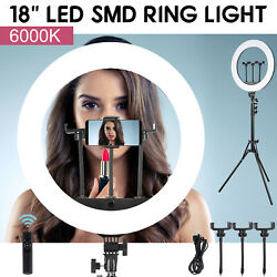 18 Led Ring Light Kit With Stand Dimmable 2700-6000k For Makeup Phone Camera