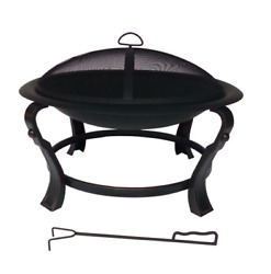 Steel Round Fire Pit Ashcraft Outdoor 30 In. Wood Firepit W/ Mesh Cover Poker