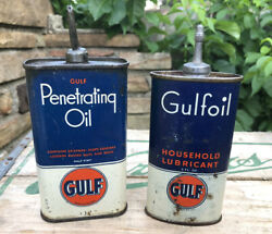 Vtg Pair Gulf Penetrating Oil And Gulf Household Oil Lead Top 4 Oz Oiler Cans