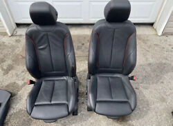 Bmw 12-18 F30 Sport Seats Red Stitched Heated Front Seat Set Oem