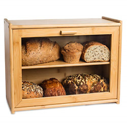 Laura's Green Kitchen Large Double Layer Bread Box Bamboo Breadbox W/clear For