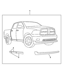 2010-13 Ram 1500 Crew Cab Right Side Ground Effects / Body Kit 68056834aa