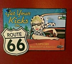 Get Your Kicks On Route 66 Women Driving Car, Retro Small Colorful Tin Sign
