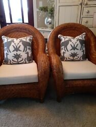 Arhaus 2 Folk Art Gray And White Embroidered Decorative Pillow Covers