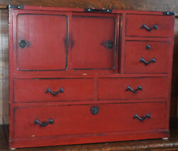 Antique Red Lacquer Japanese Tea Cabinet Tansu Storage Chest Safe Box Wood