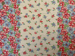 Vintage C. 1940s Blue And Red Floral Border Cotton Feedsack Fabric 32inx25in