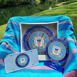 Coast Guard Retired Clock, Sign And License Plate Gift Bundle
