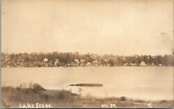 Vtg 1920and039s Lake Scene With Houses Cottages Real Photo Rppc Postcard
