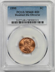 1995 Doubled Die Obverse Lincoln Memorial Penny 1c Ms 68+ Rd Plus Red Pcgs Ddo