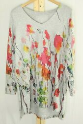 Soft Surroundings Tunic Blouse Floral Top Knit Colorful Women's Large