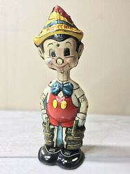 Disney 1939 Pinocchio Marx Tin Wind-up Toy W/ Built-in Key-working ,needs Nose