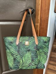 Dooney and Bourke Siesta Large Shopper Tote Black with Green Palm Leaves $125.00