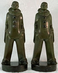 Max Le Verrier Art Deco Pierrot Figurines / Bookends 1930and039s Original France
